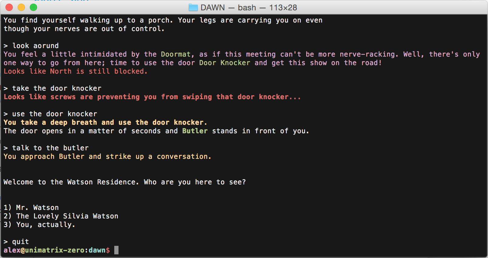 DAWN Text adventure engine